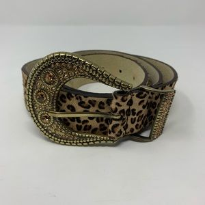 Chico's Calf Hair Leopard Bling Belt